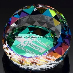 Faceted crystal paperweights