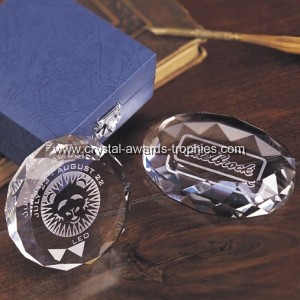 quality crystal etched paperweights