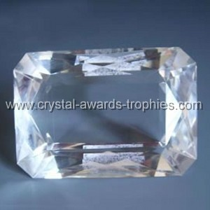 crystal rectangle gem paperweight
