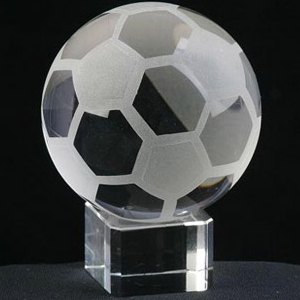 crystal football with base