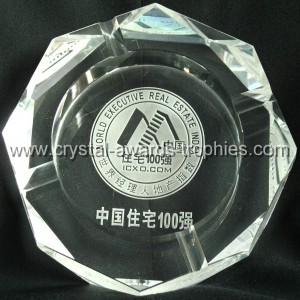Engraved octagonal Crystal Ashtray gifts