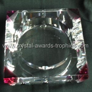 red joint crystal ashtray gift